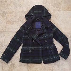 American Eagle Great Cond 70% Wool Trench Pea Coat